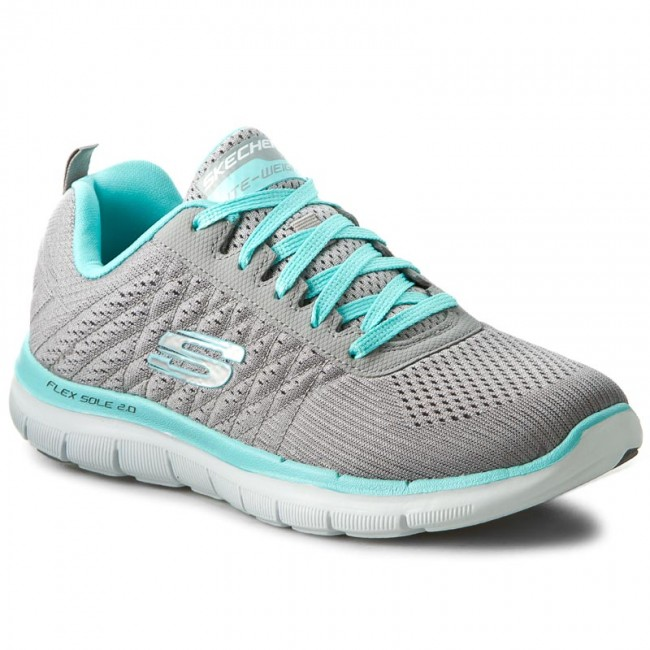 Boty SKECHERS - Break Free 12757 GYLB Gray Light Blue - Fitness ... 38e3ed80652
