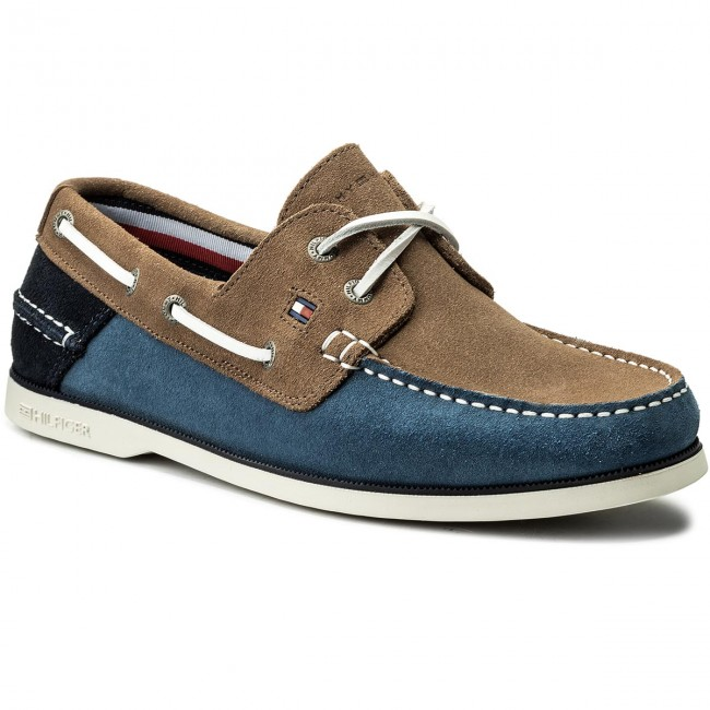 Mokasíny TOMMY HILFIGER - Classic Suede Boatshoe FM0FM00587  Jeans Taupe Midnight 902 941af3c732d