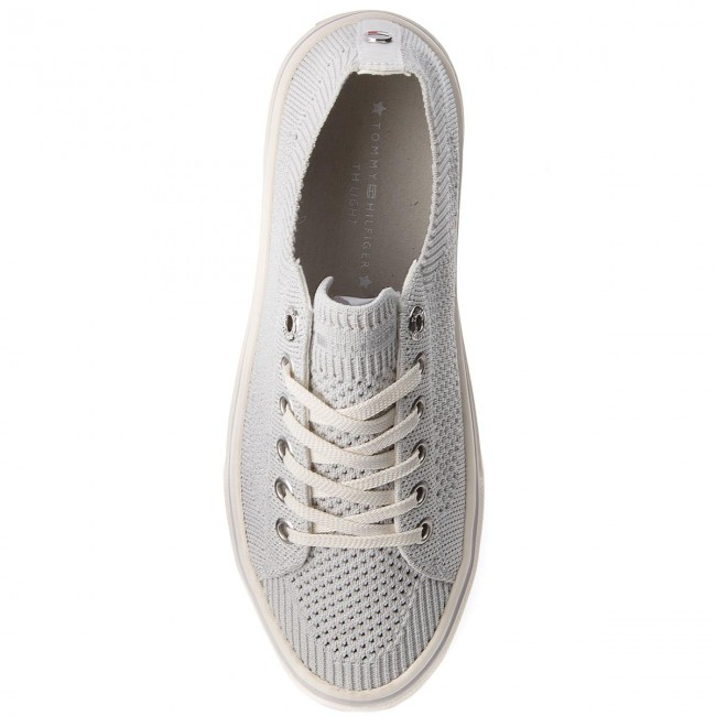 Tenisky TOMMY HILFIGER - Knitted Light Weight Lace Up FW0FW03362 White 100  - Plátěnky 5e0ff7582b5