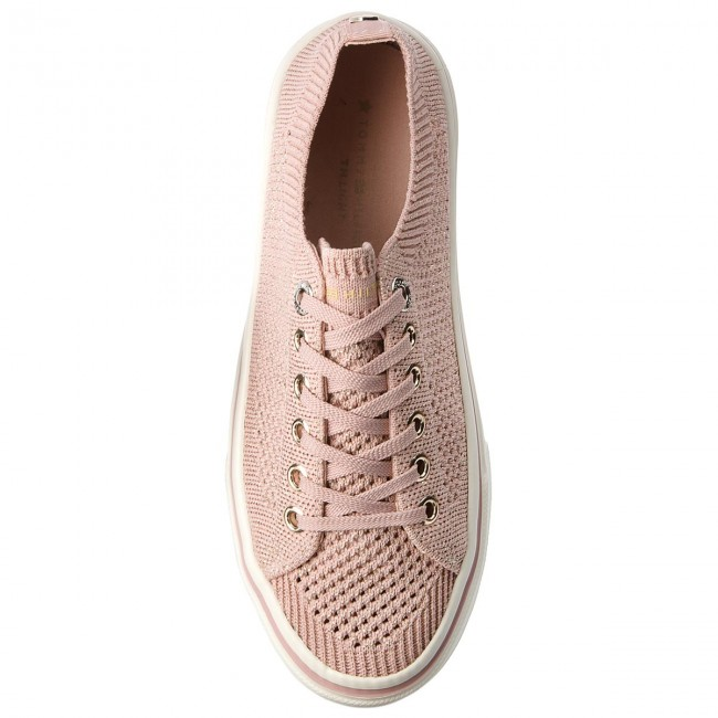 Tenisky TOMMY HILFIGER - Knitted Light Weight Lace Up FW0FW03362 Dusty Rose  502 - Plátěnky 87e230e8af7