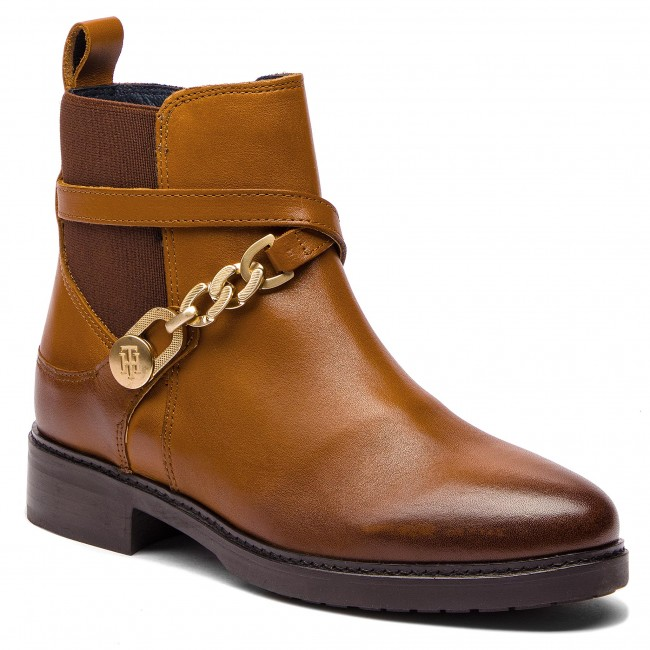 Polokozačky TOMMY HILFIGER - Th Chain Bootie Leat FW0FW03311 Cognac ... 4e7024b692