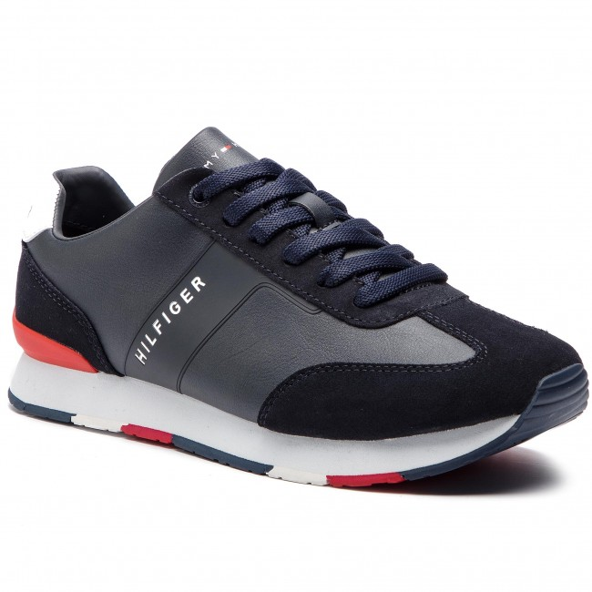 Sneakersy TOMMY HILFIGER - Leather Material Mix Runner FM0FM02142 Midnight  403 74475abc8b