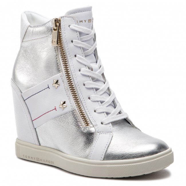 Sneakersy TOMMY HILFIGER - Wedge Sneaker FW0FW03687 White 100 ... 050d137e71