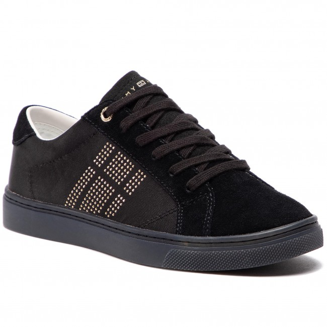 Sneakersy TOMMY HILFIGER - Sparkle Satin Essential Sneaker FW0FW03694 Black  990 3aba595c743