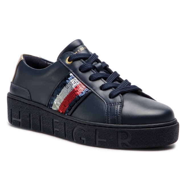 fd5fde5a71 Sneakersy TOMMY HILFIGER - Tommy Sequins Fashion Sneaker FW0FW03704  Midnight 403