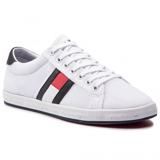 Sneakersy TOMMY HILFIGER - Essential Flag Detail Sneaker FM0FM02202 White  100 0e68424491