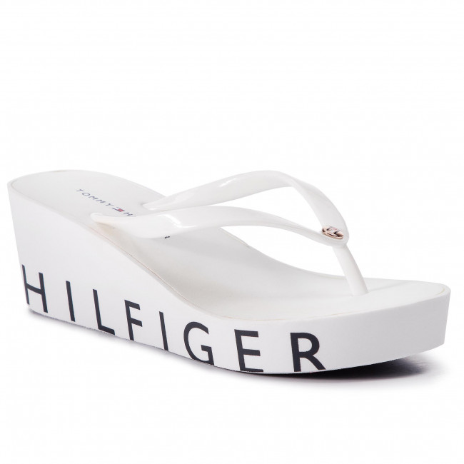 14e4ce10cd Žabky TOMMY HILFIGER - Wedge Beach Sandal FW0FW04057 White 100 ...