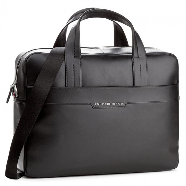 Brašna na notebook TOMMY HILFIGER - Smooth Leather Computer Bag AM0AM02635  002 4b60bf2333c