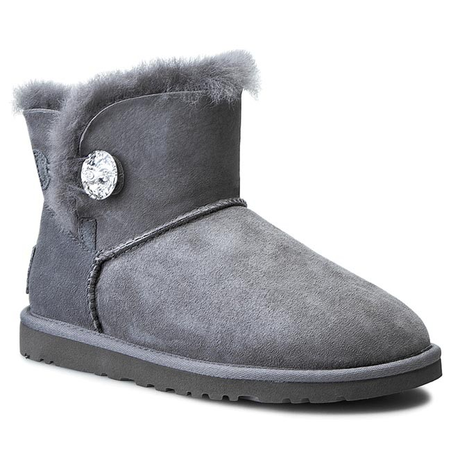 Boty UGG - W Mini Bailey Button Bling 1003889 Gry