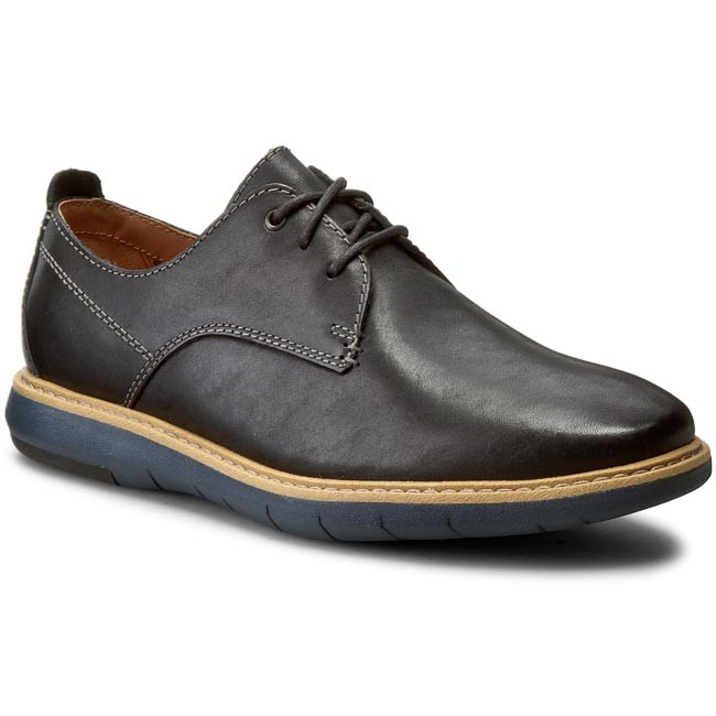 Polobotky CLARKS - Flexton Plain 261193167 Black Leather