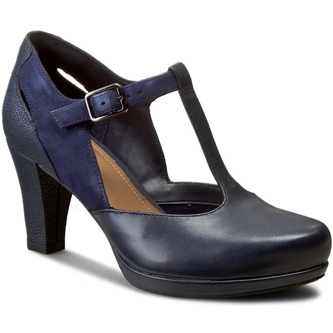 Polobotky CLARKS - Chorus Gia 261198224 Navy Leather