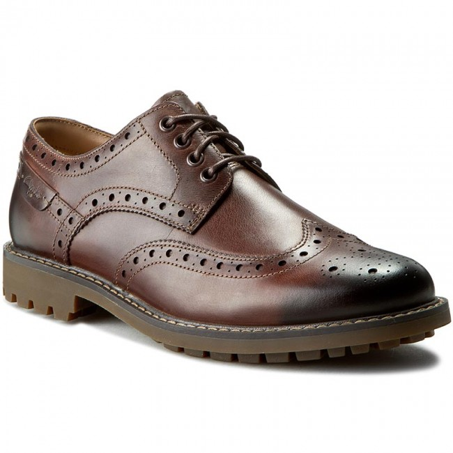 Polobotky CLARKS - Montacute Wing 203510867 Dark Brown Leather