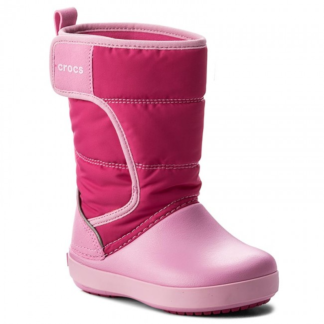 Sněhule CROCS - Lodgepoint Snow Boot K 204660 Candy Pink/Patry Pink