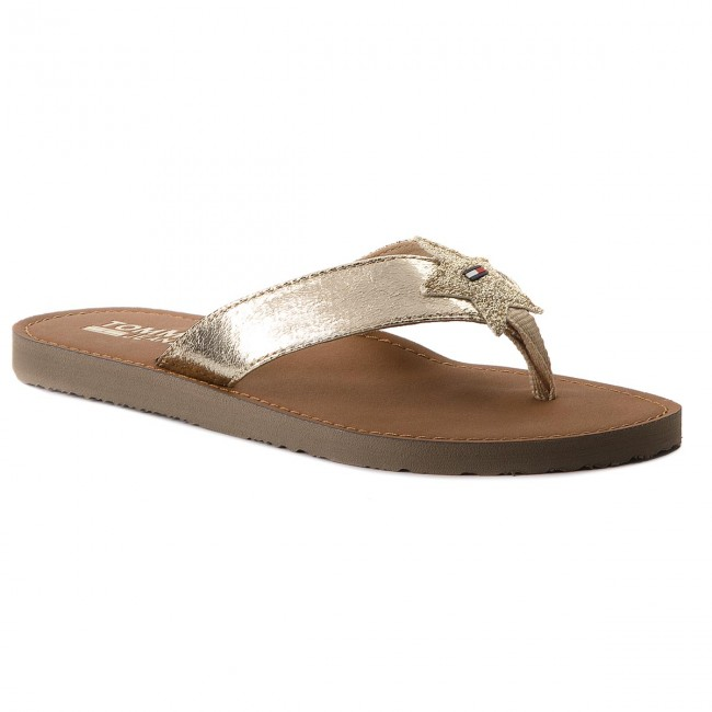 Žabky TOMMY JEANS - Glitter Beach Sandal EN0EN00065 Light Gold 708