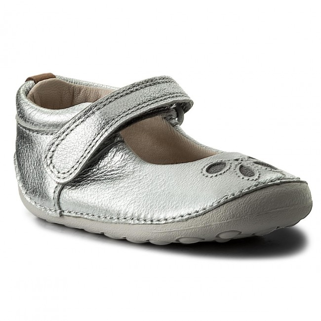 Polobotky CLARKS - Tiny Eden Silver Leather
