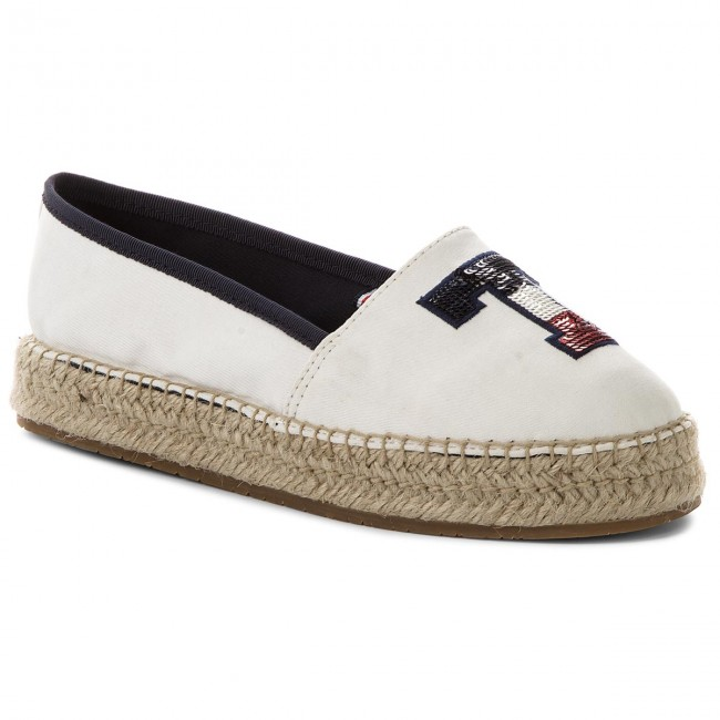 Espadrilky TOMMY HILFIGER - Th Sequins Espadrille FW0FW02412 Whisper White 121