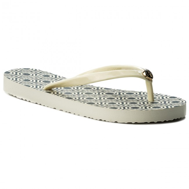 Žabky TORY BURCH - Thin Flip Flop 37149 Perfect Ivory/Octagon Sq 116