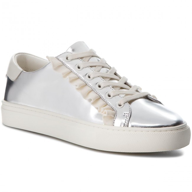 Sneakersy TORY BURCH - Ruffle Metallic Sneaker 50107 Silver/Perfect Ivory/Perfect Ivory 971