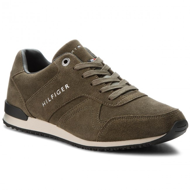 Sneakersy TOMMY HILFIGER - Iconic Suede Textile FM0FM01731 Olive Night 010