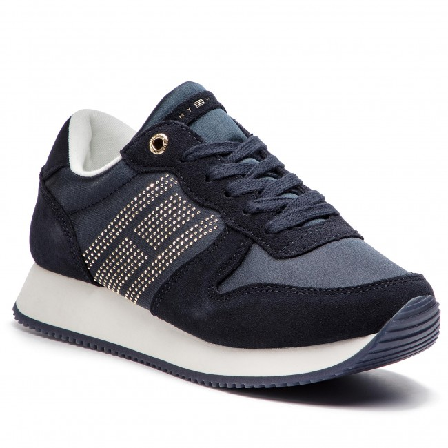 Sneakersy TOMMY HILFIGER - Sparkle Satin City Sneaker FW0FW03991 Midnight 403