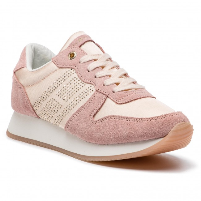Sneakersy TOMMY HILFIGER - Sparkle Satin City Sneaker FW0FW03991 Silver Peony 658