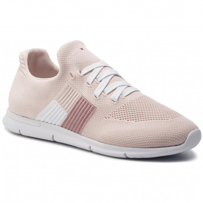 Sneakersy TOMMY HILFIGER - Knitted Flag Light Sneaker FW0FW04144 Silver Peony 658