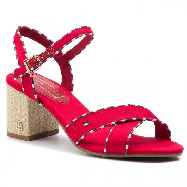 Sandály TOMMY HILFIGER - Corporate Detail Heeled Sandal FW0FW04230 Tango Red 611