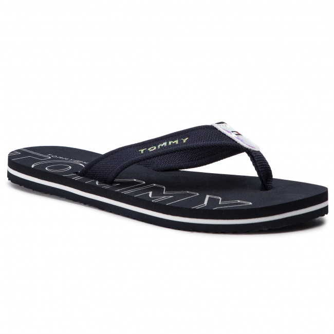 Žabky TOMMY HILFIGER - Iridescent Detail Beach Sandal FW0FW04236 Midnight 403