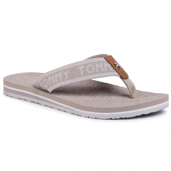 Žabky TOMMY HILFIGER - Th Embossed Flat Beach Sandal FW0FW04805 Stone AEP