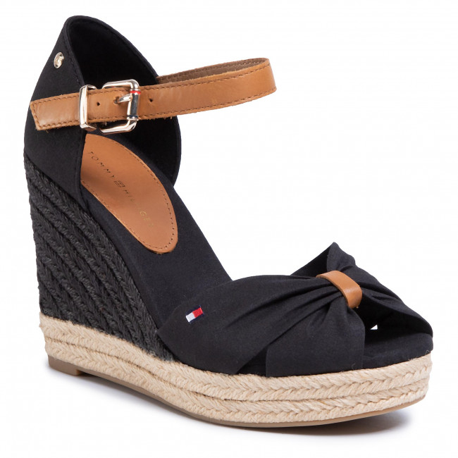 Espadrilky TOMMY HILFIGER - Basic Opened Toe High Wedge FW0FW04784 Black BDS