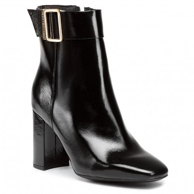 Polokozačky TOMMY HILFIGER - Patent Square Toe Boot FW0FW05156 Black BDS