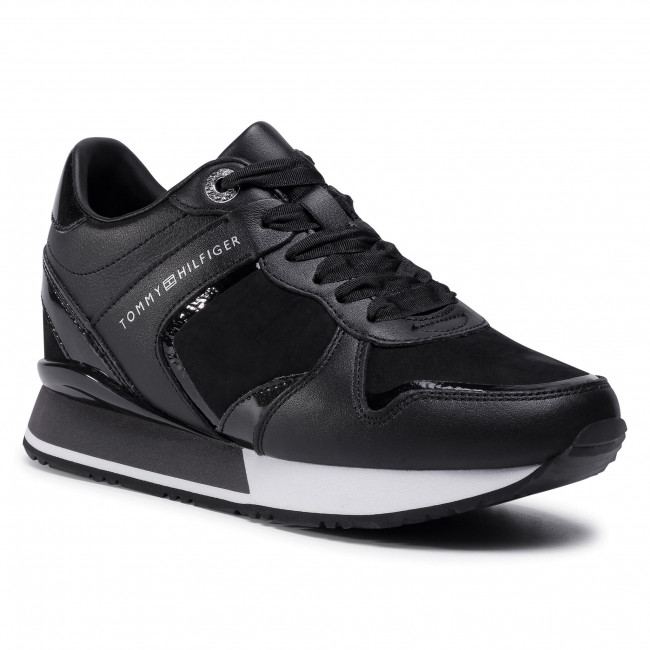 Sneakersy TOMMY HILFIGER - Dressy Wedge Mat Mix Sneaker FW0FW05239 Black BDS