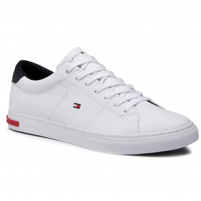 Sneakersy TOMMY HILFIGER - Essential Leather Detail Vulc FM0FM02977 White YBR