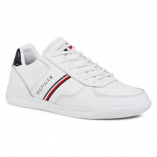 Sneakersy TOMMY HILFIGER - Lightweight Leather Mix Sneaker FM0FM02988  White YBR