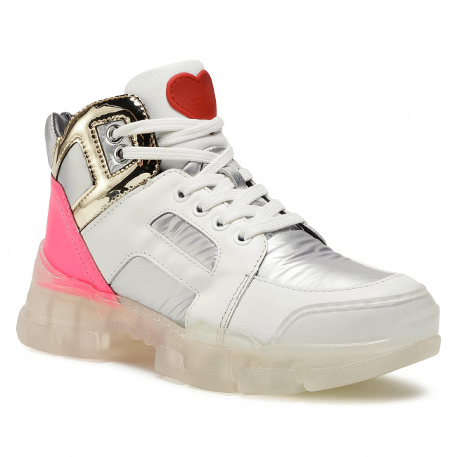 Sneakersy LOVE MOSCHINO - JA15444G0BJ1190A  Bia/Fux