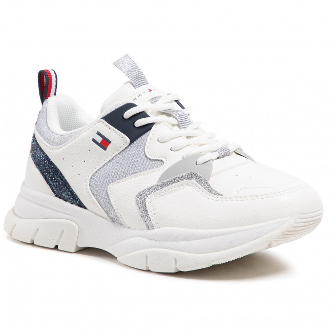 Sneakersy TOMMY HILFIGER - Low Cute Lace-Up Sneaker T3A4-31034-0991 M White/Silver/Blu Y955