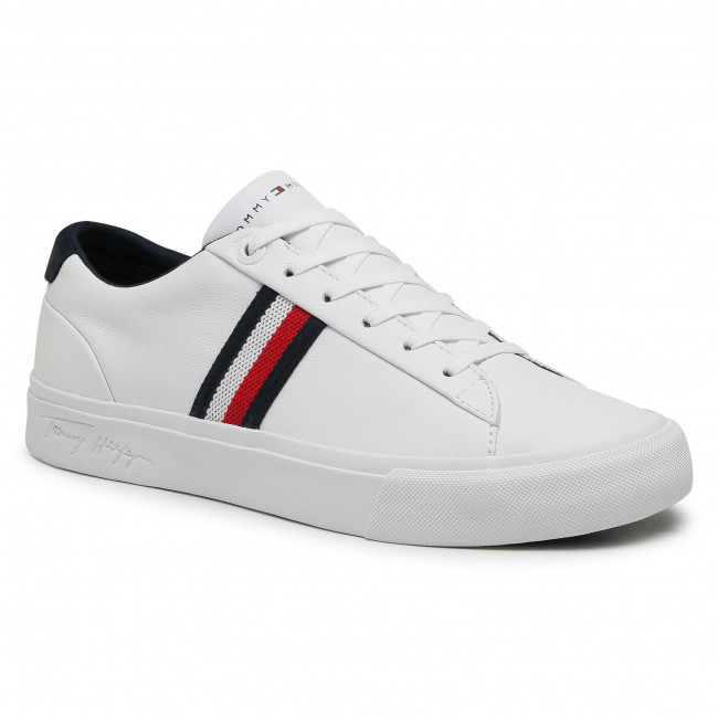 Sneakersy TOMMY HILFIGER - Corporate Leather Sneaker FM0FM03397 White YBR