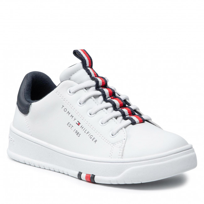 Sneakersy TOMMY HILFIGER - Low Cut Lace-Up Sneaker T3B4-32052-0193 M White 100