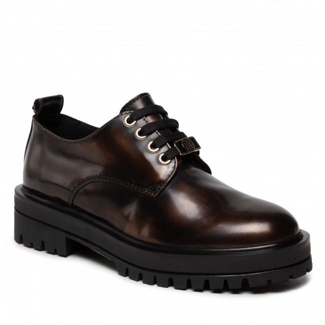 Oxfordy TOMMY HILFIGER - Polished Leather Lace Up Shoe FW0FW05930 Gold 0LL