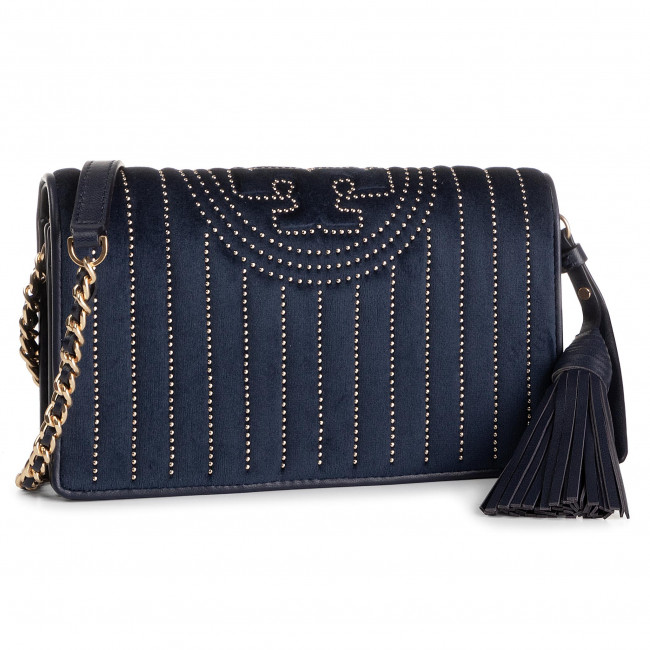 Kabelka TORY BURCH - Fleming Mini Stud Vlevet Wallet Cross-Body 58464 Royal Navy 403