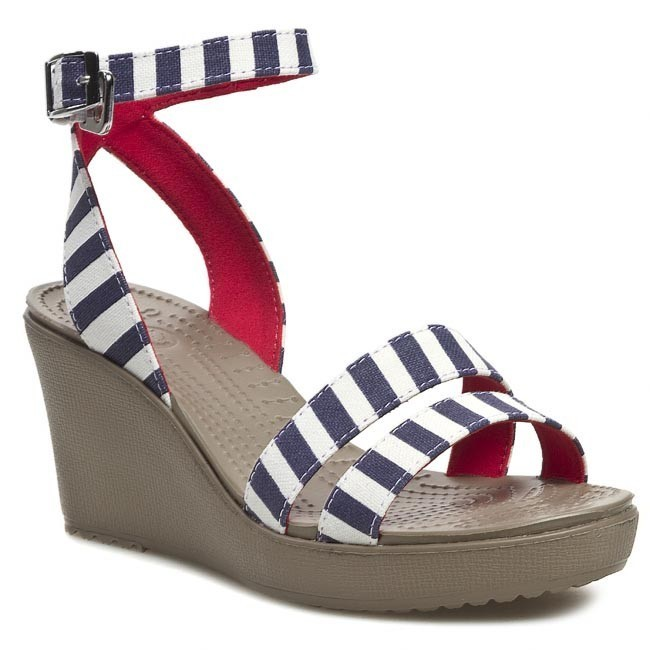 Sandály CROCS - Leigh Graphic Wedge 15313 Nautical Navy/White