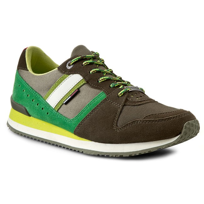 Sneakersy TOMMY HILFIGER - Roan 1C - 1 EM56818778  Dusty Olive/Lime Punch/Bright Green 902