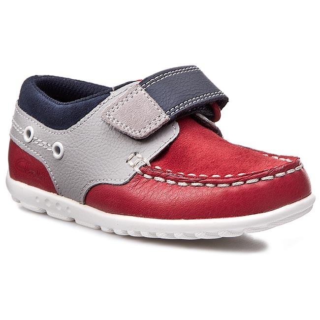 Polobotky CLARKS - Balmy Drum Inf 261052627 Red Combi Lea