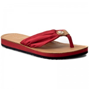 Žabky TOMMY HILFIGER - Leather Footbed Beach Sandal FW0FW00475 Tango Red 611 3118729d11a