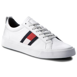 89263d0825b Sneakersy TOMMY HILFIGER - Flag Detail Leather Sneaker FM0FM01712 White 100