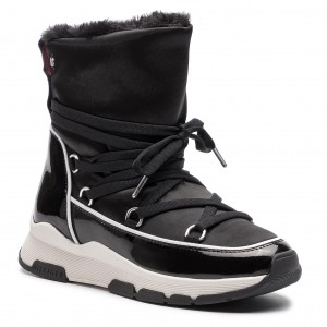 Boty TOMMY HILFIGER - Cool Technical Satin Winter Boot FW0FW03697 Black 990 fd3f9a42dc0