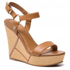 12097702cd69 Sandály TOMMY HILFIGER - Elevated Leather Wedge Sandal FW0FW03943 Summer  Cognac 929