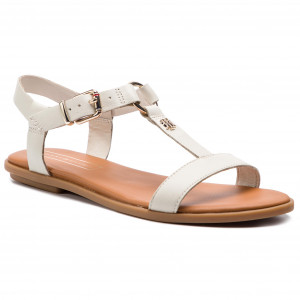934b25a5f5ef4 Sandály TOMMY HILFIGER Elevated Leather Flat Sandal FW0FW03946 Whisper  White 121