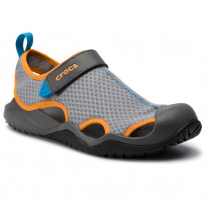 Sandály CROCS - Swiftwater Mesh Deck Sandal M 205289 Light Grey Blazing  Orange 1fb77535a0